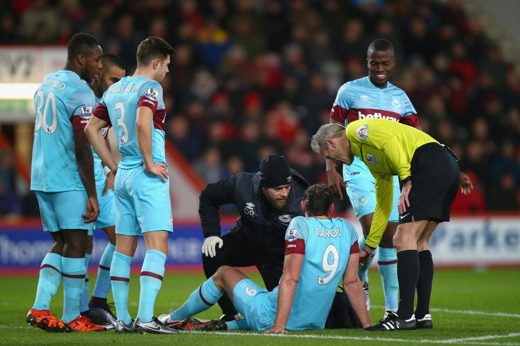 during the Barclays Premier League match between A.F.C. Bournemouth and West Ham United at Vitality Stadium on January 12, 2016 in Bournemouth, England.