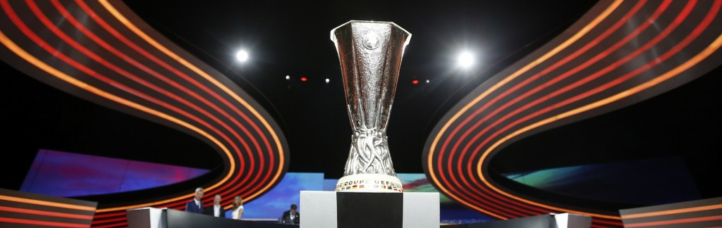 The UEFA Europa League trophy is seen on stage following the draw for the 2014/2015 UEFA Europa League soccer competition at Monaco's Grimaldi Forum in Monte Carlo