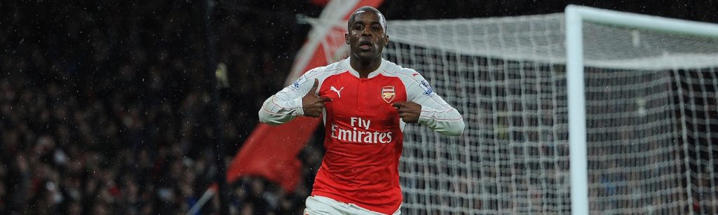 LONDON, ENGLAND - MARCH 02: Joel Campbell celebrates scoring a goal for Arsenal the Barclays Premier League match between Arsenal and Swansea City at Emirates Stadium on March 2, 2016 in London, England. (Photo by David Price/Arsenal FC via Getty Images)