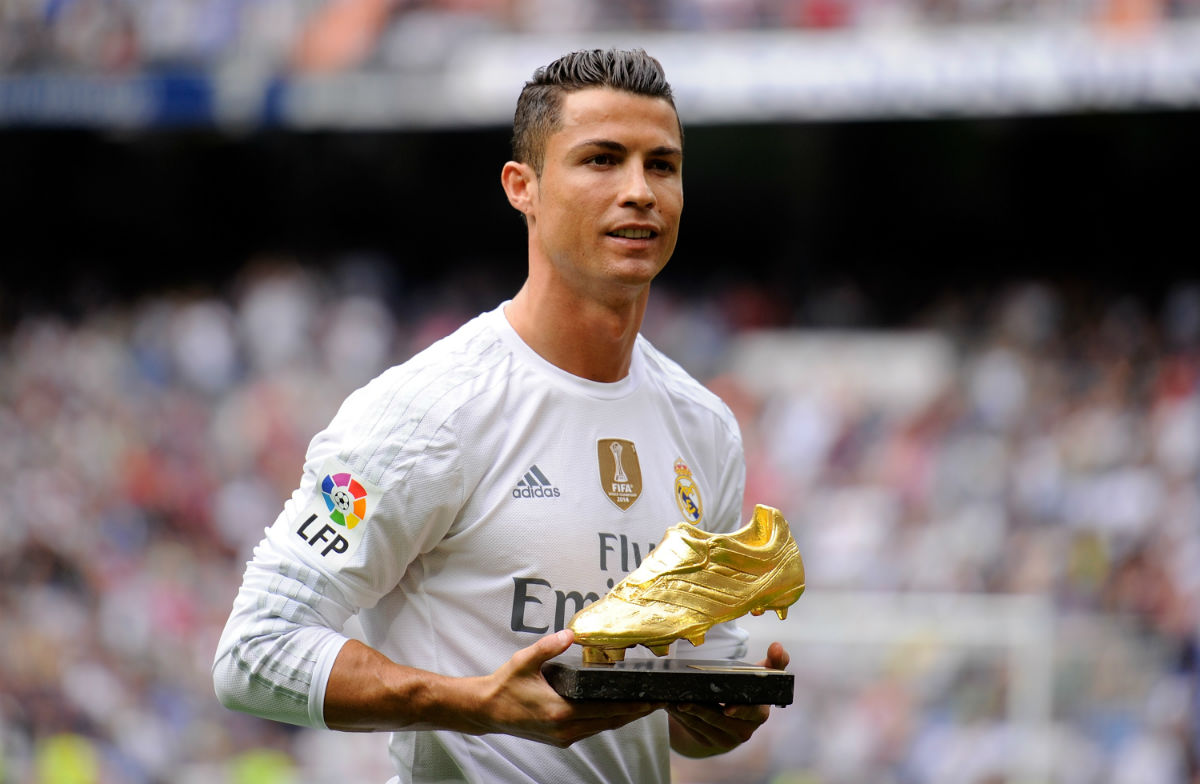 real-madrids-cristiano-ronaldo-receives-his-european-golden-shoe-award-during-their-weekend-match-against-levante-for-topscoring-european-league-matches-last-season